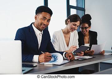 team, van, bedrijfspersoon, werken, samen., concept, van, teamwork