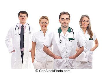 team, van, jonge, en, smart, medisch, werkmannen
