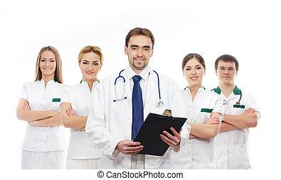 team, van, jonge, medisch, werkmannen