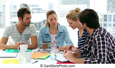 team, van, ontwerpers, hebben, een, vergadering