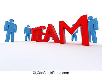 team, vertolking, concept., 3d