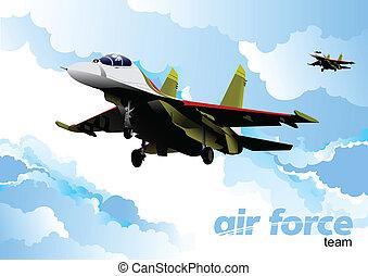 team., vettore, forza, illustrazione, aria