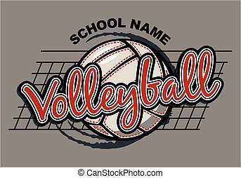 team volleyball design with ball and net