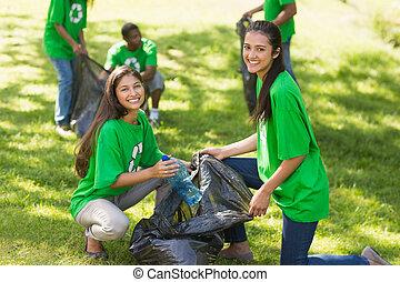 team, vrijwilligers, litte, het collecteren