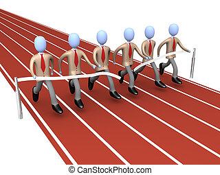 Team Winning - Metaphor of how teamwork brings success .
