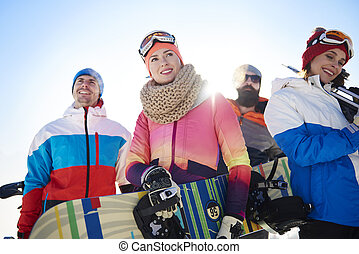 Team with winter equipments on the top view