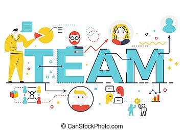 Team word lettering illustration