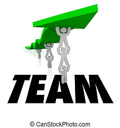 Team Word People Working Together Lift Arrow - Team word...