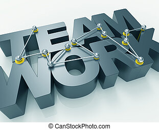 team work 3d word concept