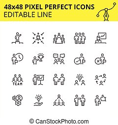 Team work and business icons vector image 48x48