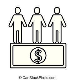 team work avatars silhouettes with bill dollar