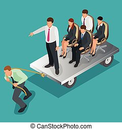 Team work. Business concept. Group of people, team pulling line, playing tug of war. Flat 3d isometric vector illustration.
