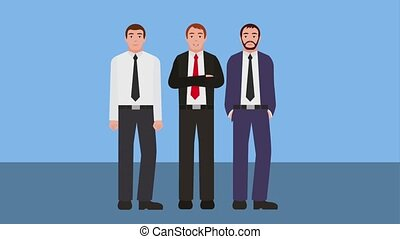 team work businessmen group charatcers animation hd
