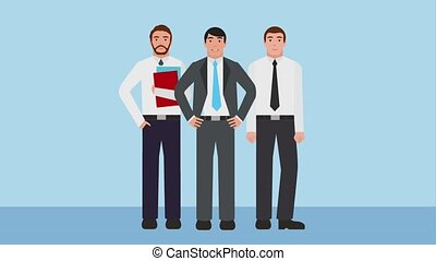 team work businessmen group employee manager animation hd