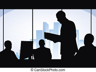 team work - businessmen works in office, black and blue...
