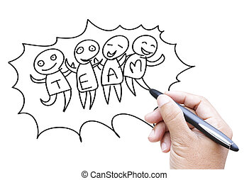 Team work cartoon sketching by hand - Team work