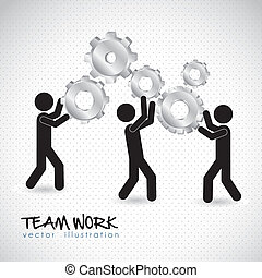 team work - Illustration of silhouettes with gears, team...
