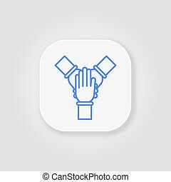 Team work. Cohesion blue line icon on gray background