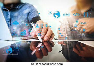 Coding software developer work with AR new design dashboard computer icons of scrum agile development and code fork and versioning with responsive cybersecurity. Team work concept, businessman hand attending video.