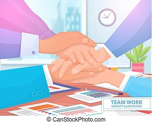 Team Work Concept Colorful Vector Illustration