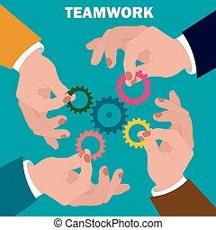 team work concept, flat design