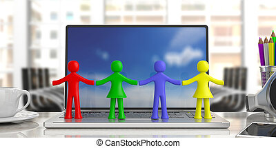 Four colorful human figures holding hands on a computer, blur office business background. 3d illustration