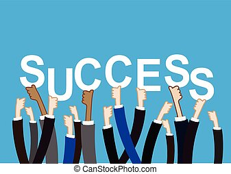 Team work concept hand holding success text sign vector illustration