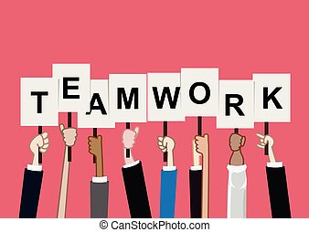 Team work concept hand holding text sign vector illustration