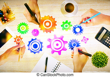 Team work concept with hands drawing abstract colorful...