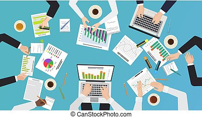 Team work concept. Top office desk view of brainstorming, business meeting. Hands with documents and laptops vector illustration.