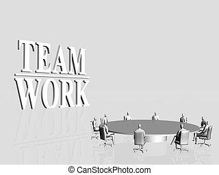 Team Work, conference. - 3D illustration, background....