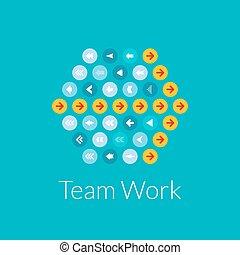 Team work flat design vector illustration concept