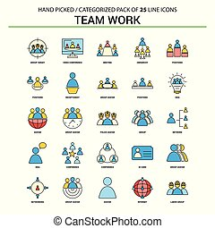 Team Work Flat Line Icon Set - Business Concept Icons Design