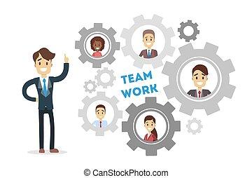 Team work gears.