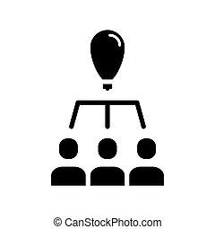 Team work. General idea black icon on white background