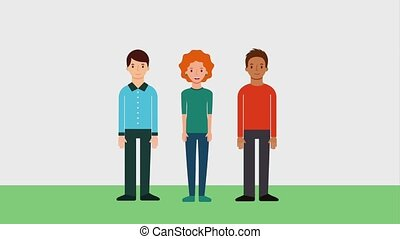 team work group people characters animation hd