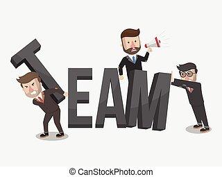 team work marketing business illust