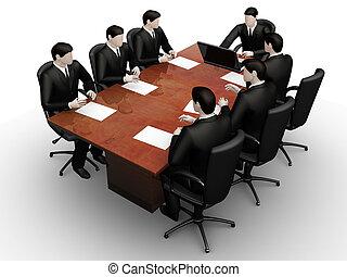 Team work - On 3d image render team businessmans...