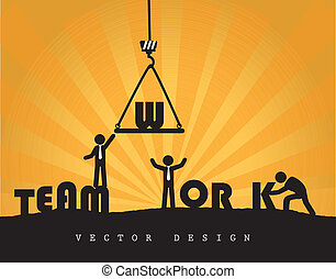 team work over orange background vector illustration