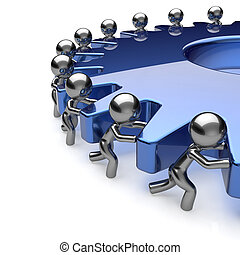 Team work partnership business process men turning blue gear hard job together. Teamwork cooperation manpower community activism workforce concept. 3d render isolated on white