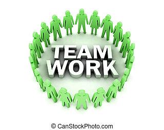 Team work. People circle. Concept 3D illustration.