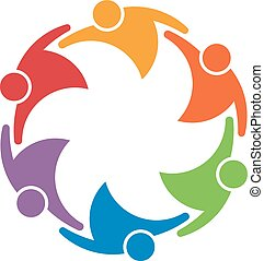 Team work people group of 6 in a circle. Concept of union
