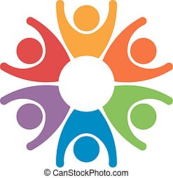 Team work people group of 6 winners. Concept of success