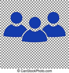 Team work sign. Blue icon on transparent background.