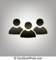 Team work sign. Vector. Blackish icon with golden stars at...