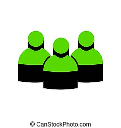 Team work sign. Vector. Green 3d icon with black side on white b