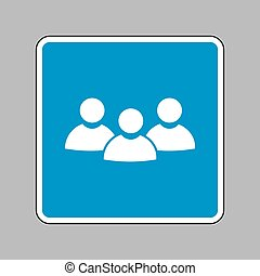 Team work sign. White icon on blue sign as background.