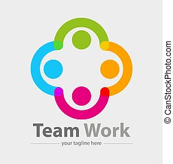 Team work - Vector abstract, team work symbol or icon.