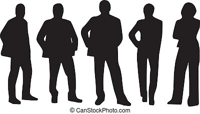 team workers - silhouette of team of worker group of five...