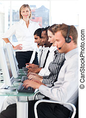 Team working in a call centre